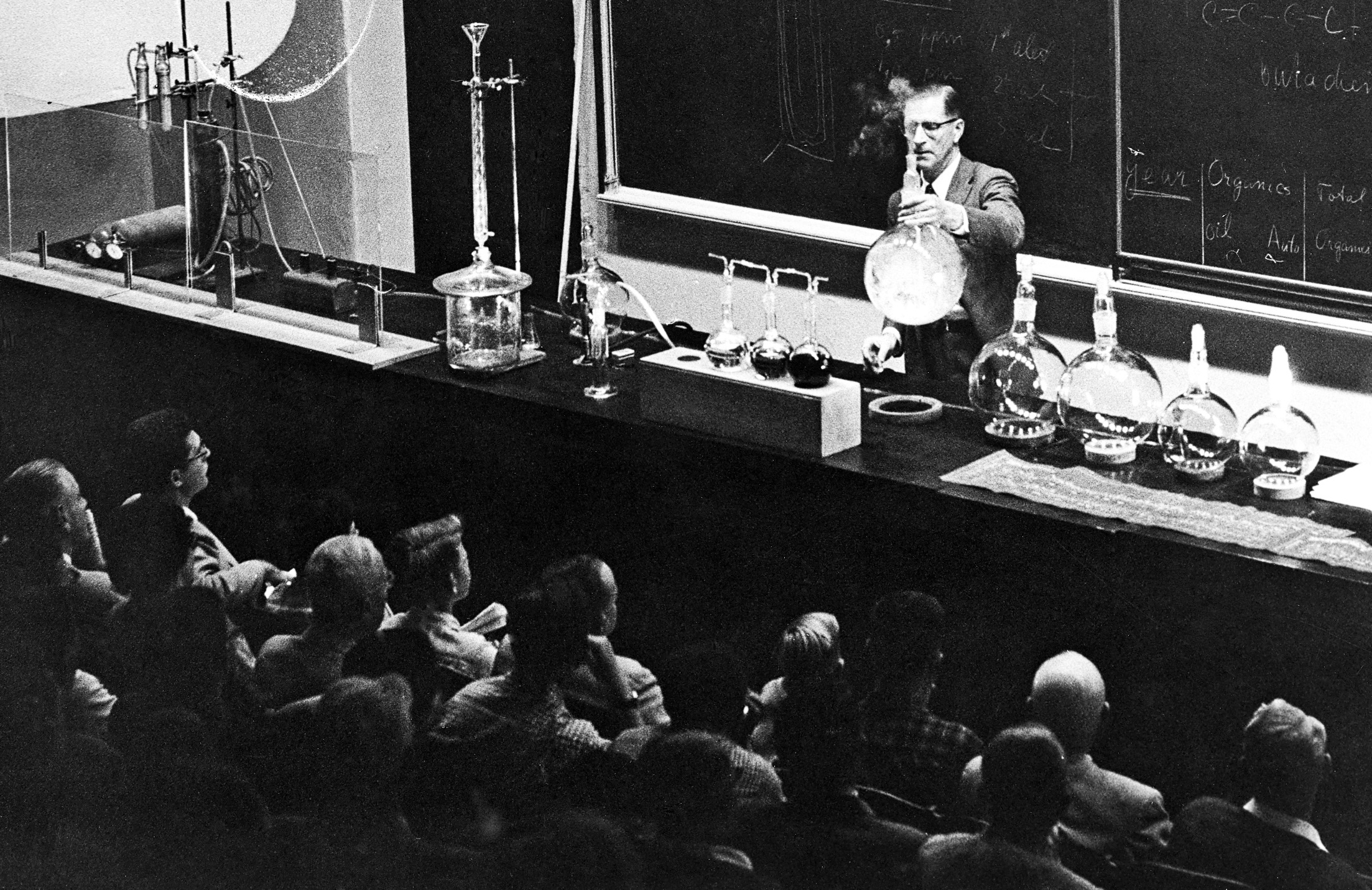 Haagen-Smit giving lecture on smog, ca. 1960s