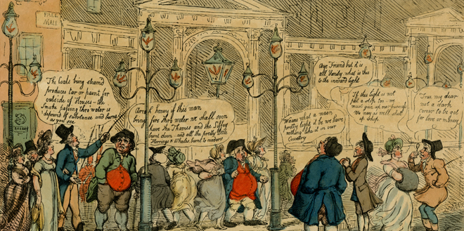 Illustration depicting an early 19th-century London street scene with citizens commenting on the recent invention of gas-lighting.