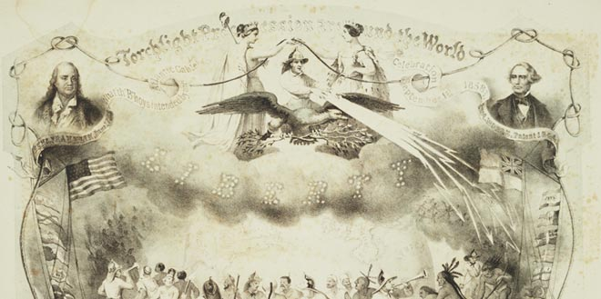 Lithograph celebrating the completion of the 1858 Atlantic cable.