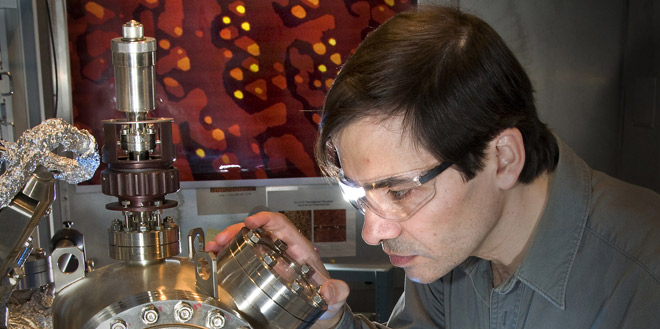 A researcher at Brookhaven National Laboratory studying catalysts that might improve fuel-cell performance.