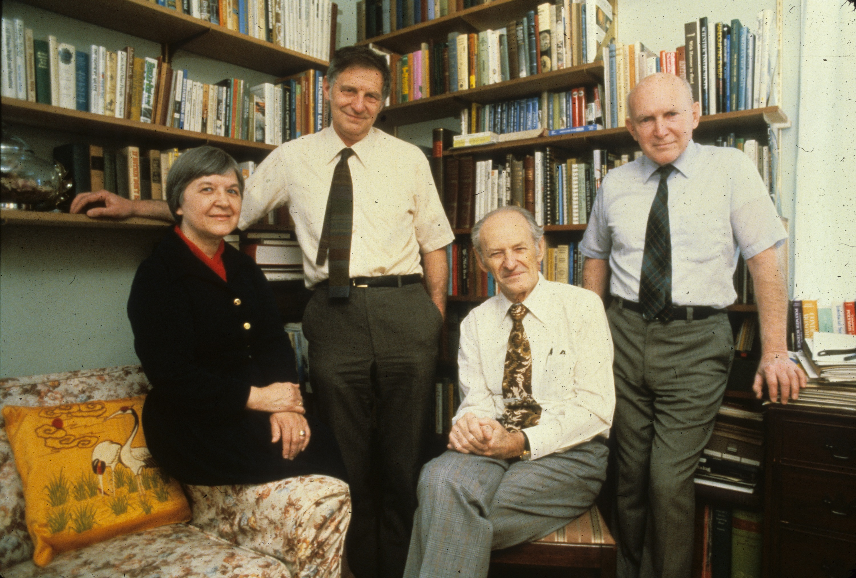Stephanie Kwolek and others of the DuPont group that developed Kevlar. Left to right, Kwolek, Herbert Blades, Paul W. Morgan, and Joseph L. Rivers Jr. Gift of Stephanie Kwolek. Courtesy DuPont.