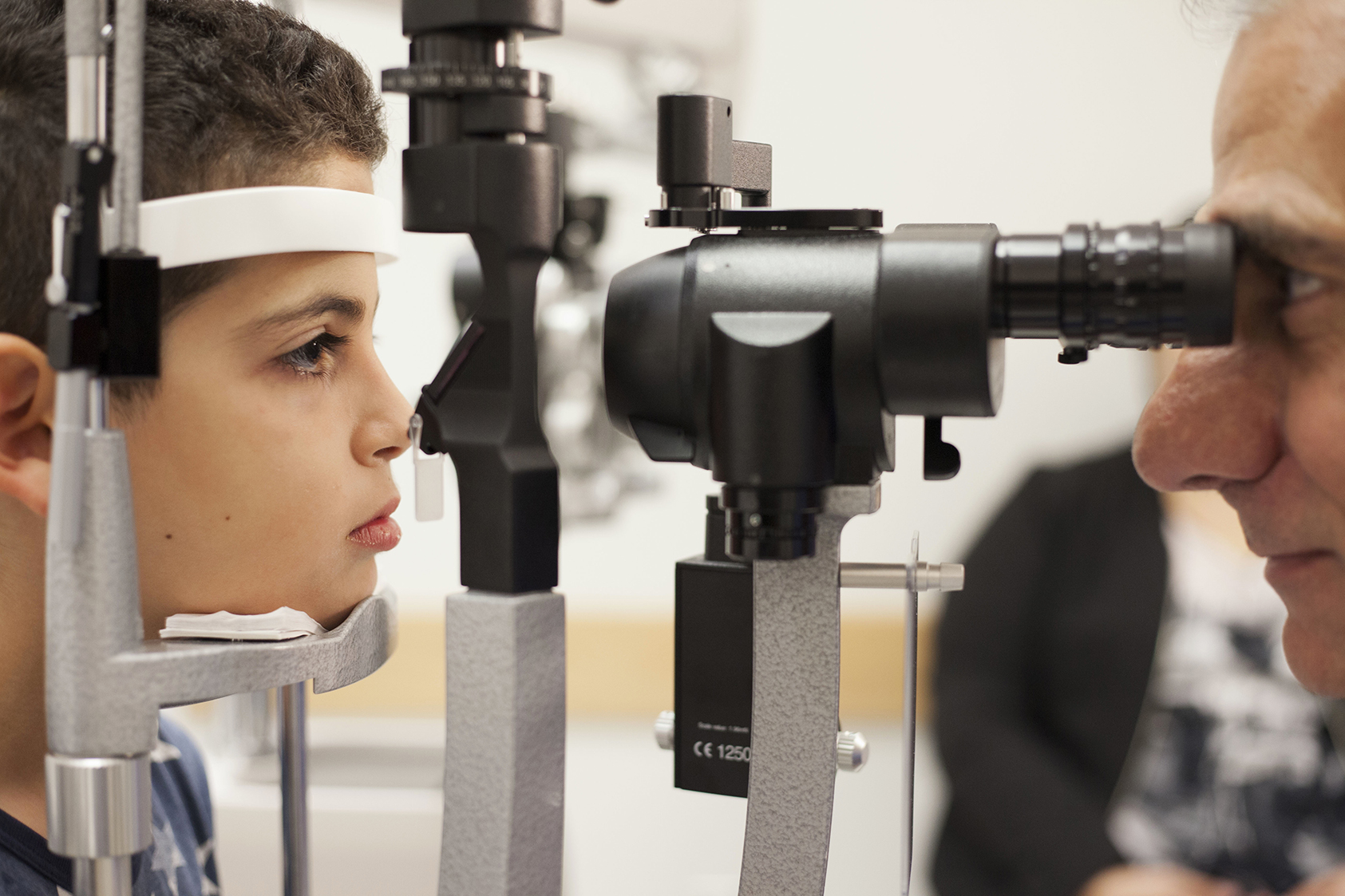 Gene therapy patient having eye exam at Children's Hospital of Philadelphia
