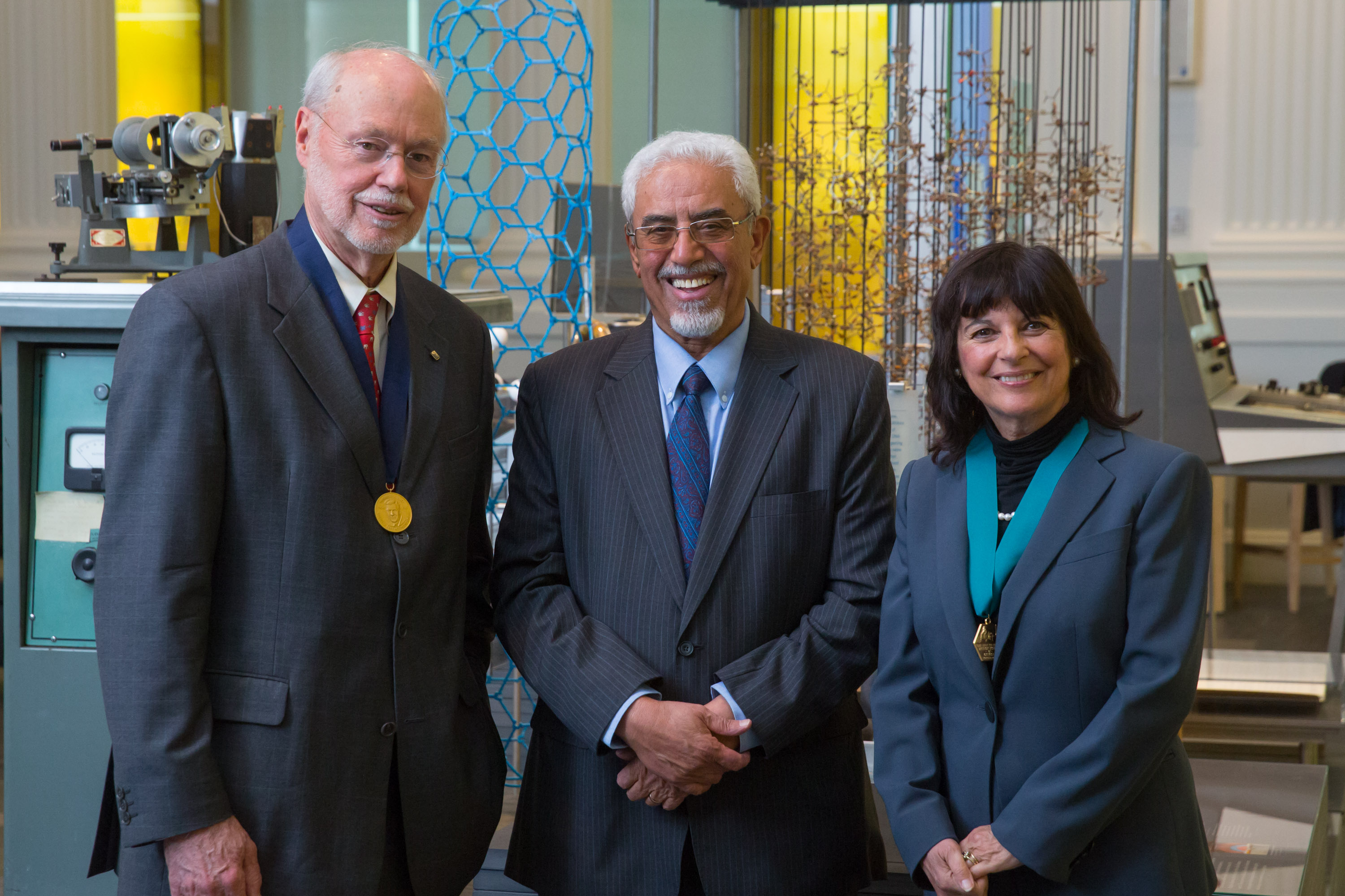 The 2015 Heritage Day medalists: Phillip Sharp, Abdulaziz Al-Zamil, and Jacqueline Barton, who won the AIC Gold Medal.