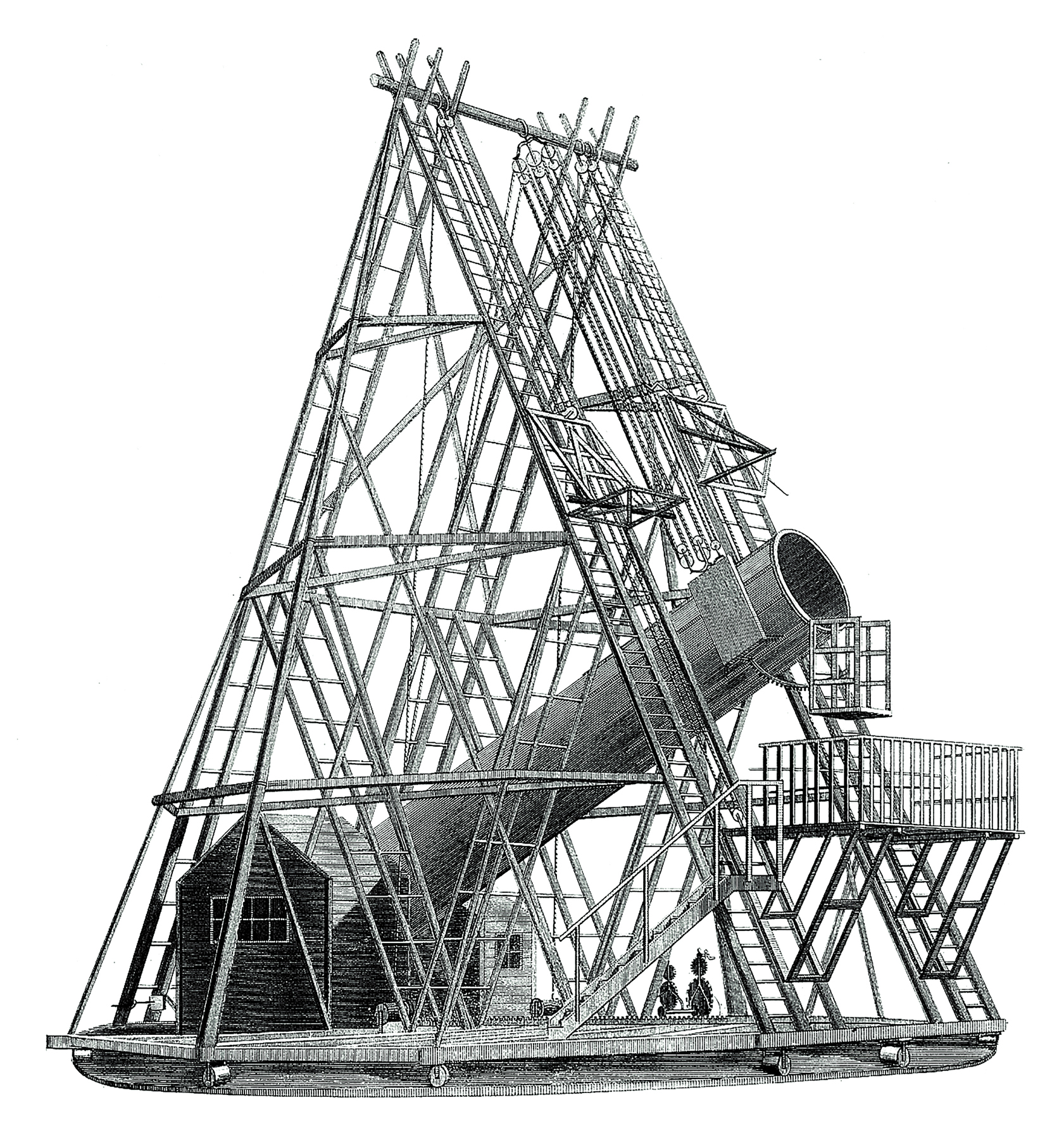 An illustration of Herschel's 40-foot reflecting telescope from Charles Hutton's A Philosophical and Mathematical Dictionary, 1815.