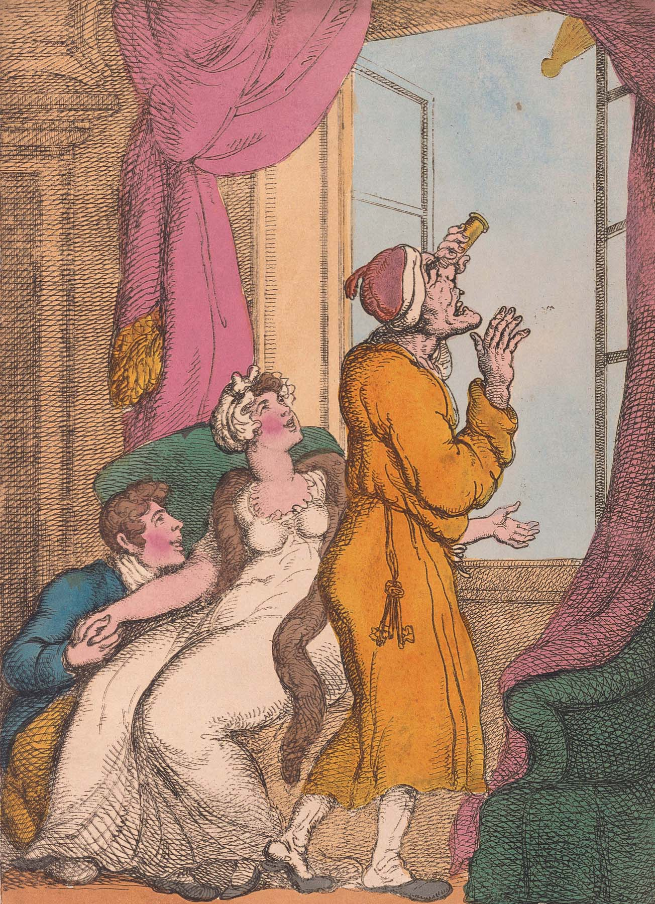 """Thomas Rowlandson's """"Looking at the Comet till You Get a Criek in the Neck."""""""
