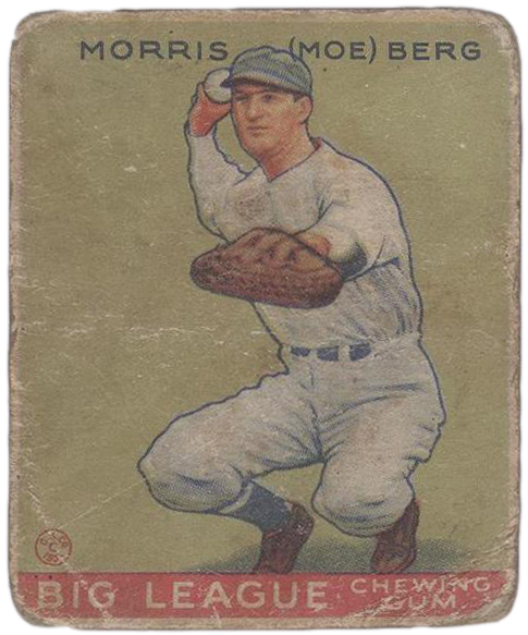 Baseball card of a crouching player with a catcher's mitt