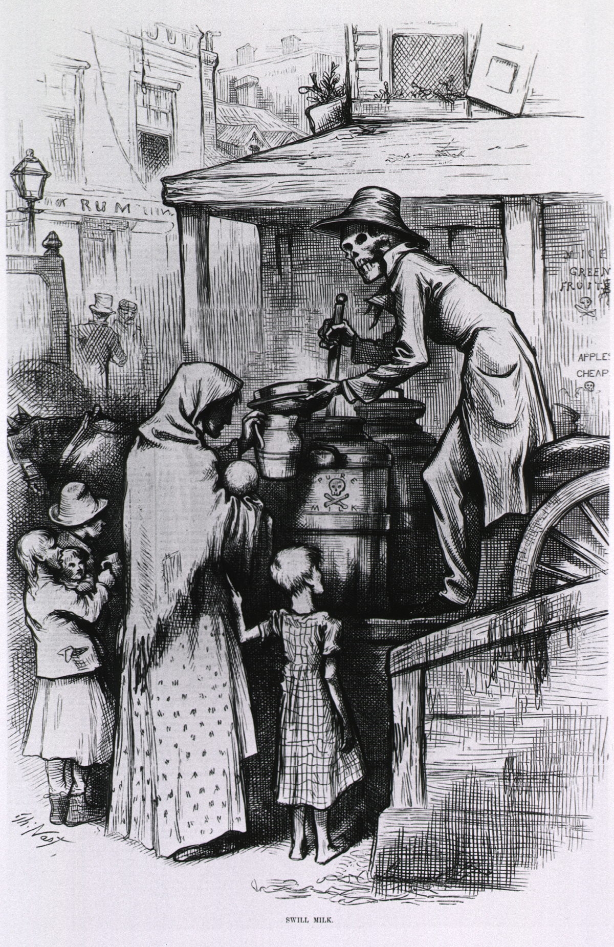 A skeleton perched on a wagon passes out tainted milk to an impoverished family