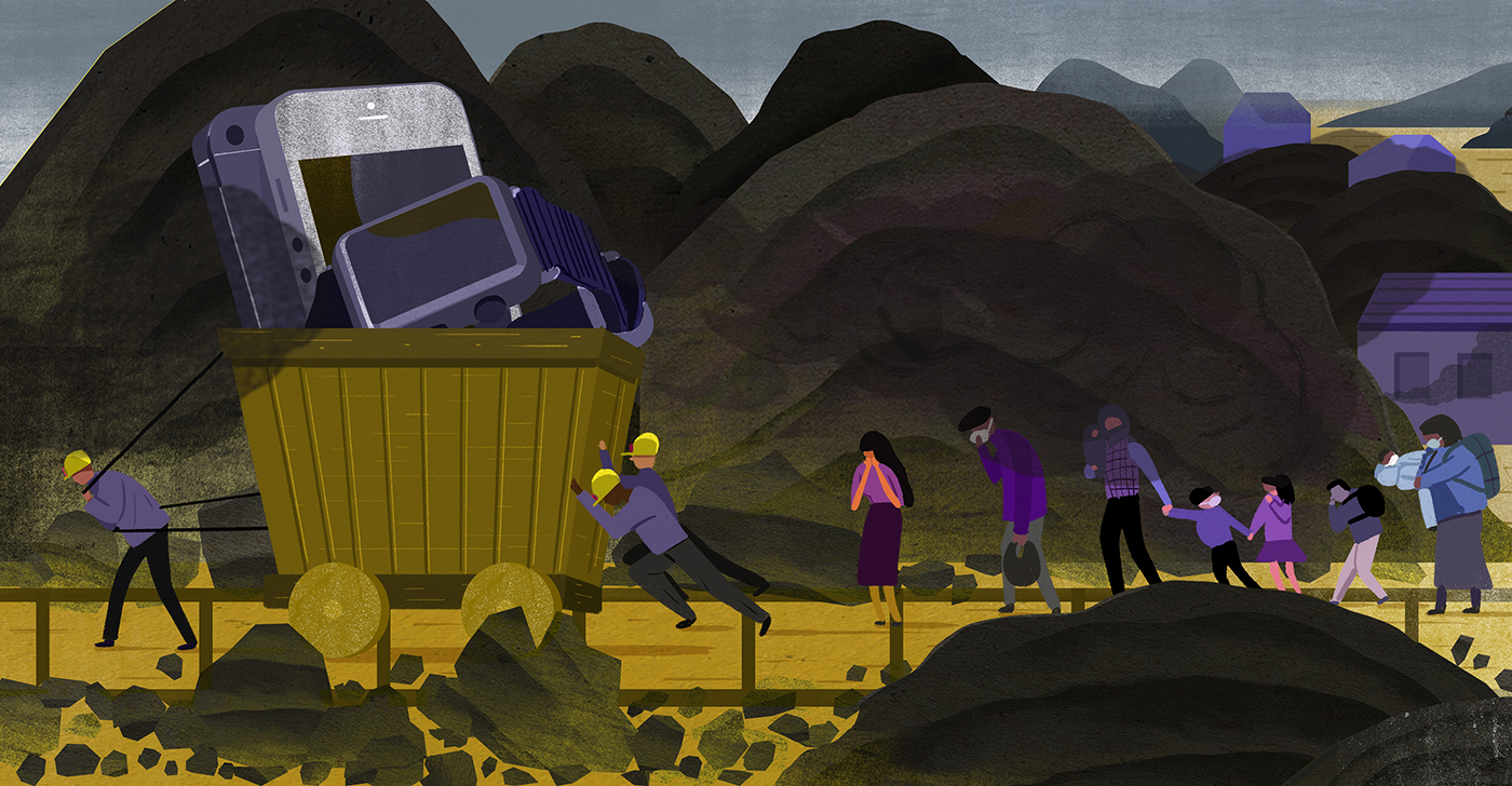 miners hauling electronics that are causing pollution