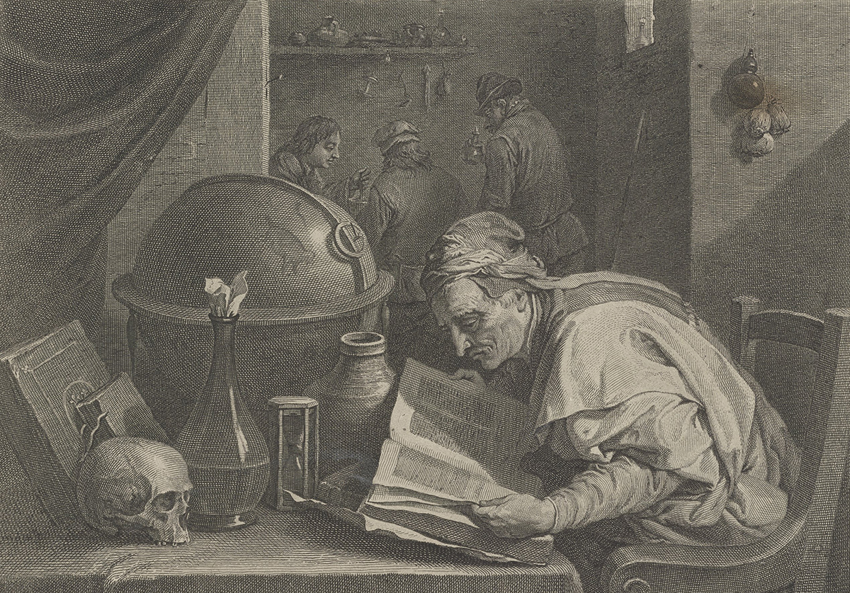 engraving of alchemist in his lab