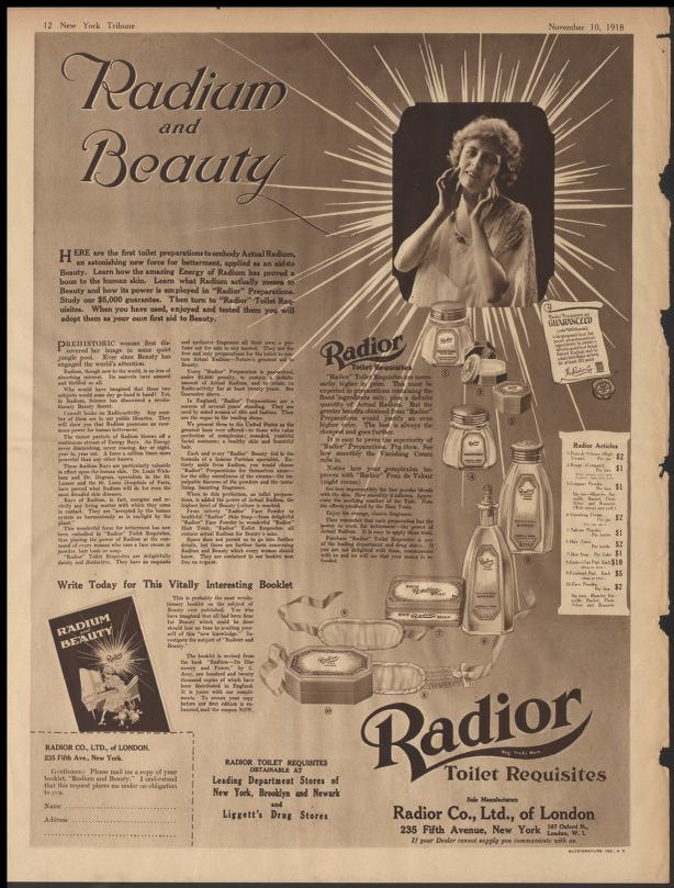 Radium and Beauty Ad for Raidnor Cosmetics.  New York Tribune, Nov. 10, 1918