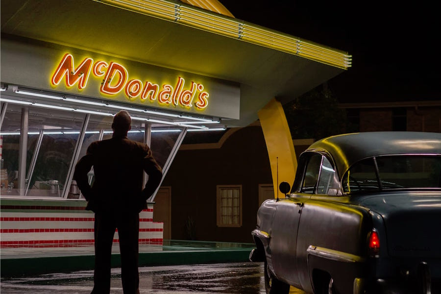 Scene from the movie The Founder starring Michael Keaton