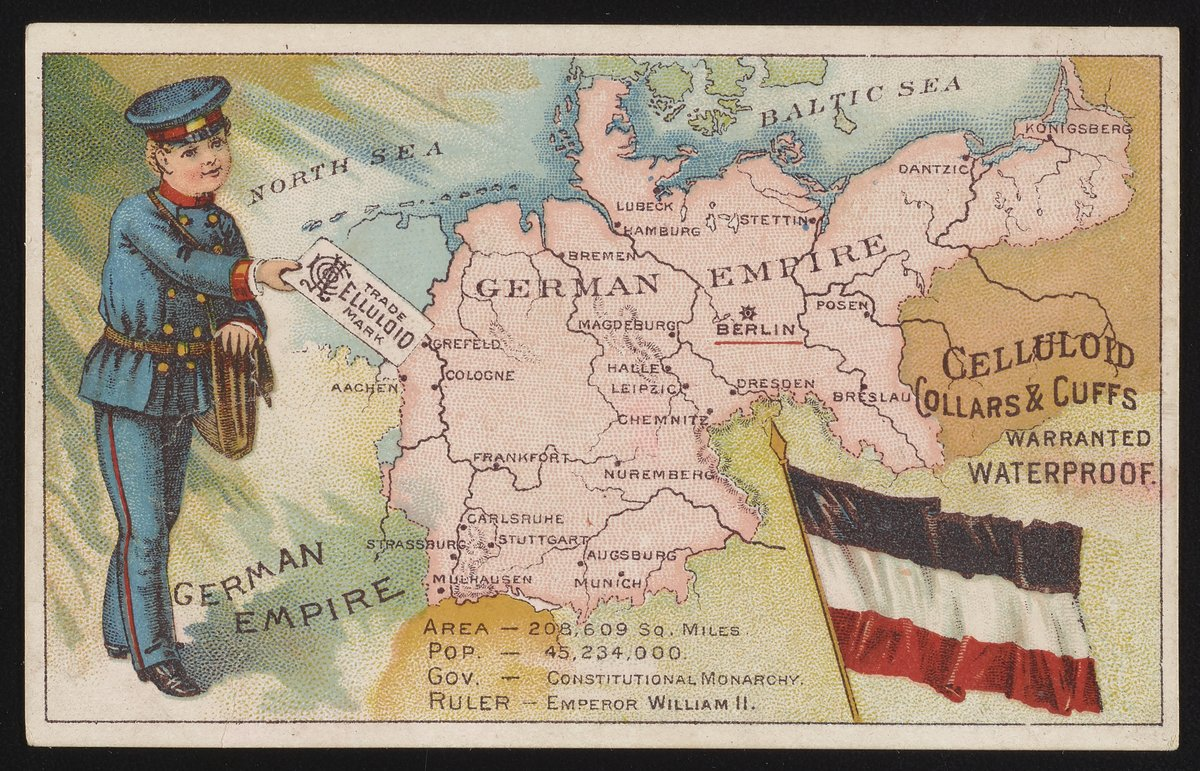 Trade card for celluloid waterproof collars and cuffs with German Empire and postman