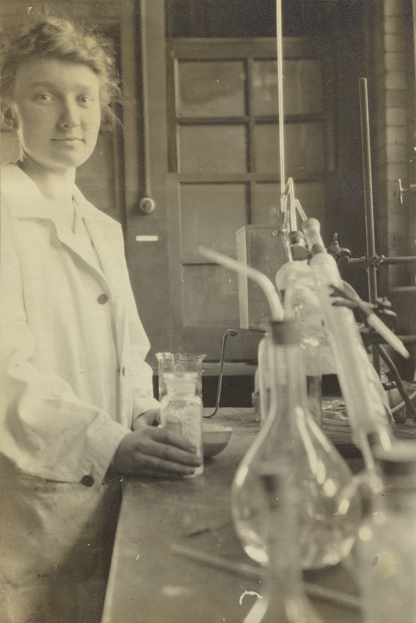 Unidentified woman in laboratory