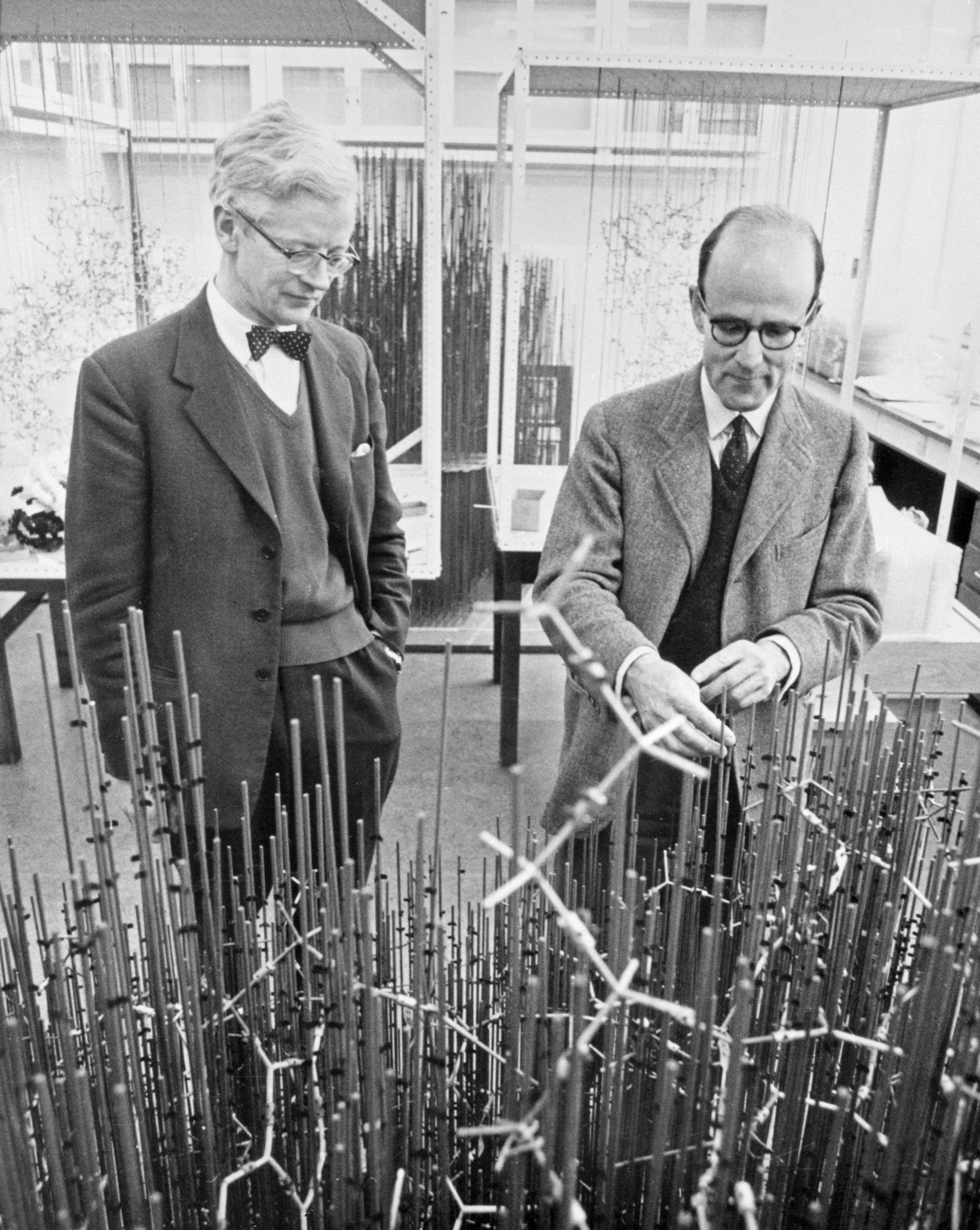 John Kendrew and Max Perutz with model