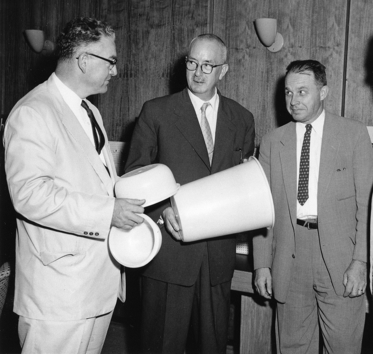 Karl Ziegler (center) with members of the Hercules group that commercialized high-density polyethylene as Hi-fax.