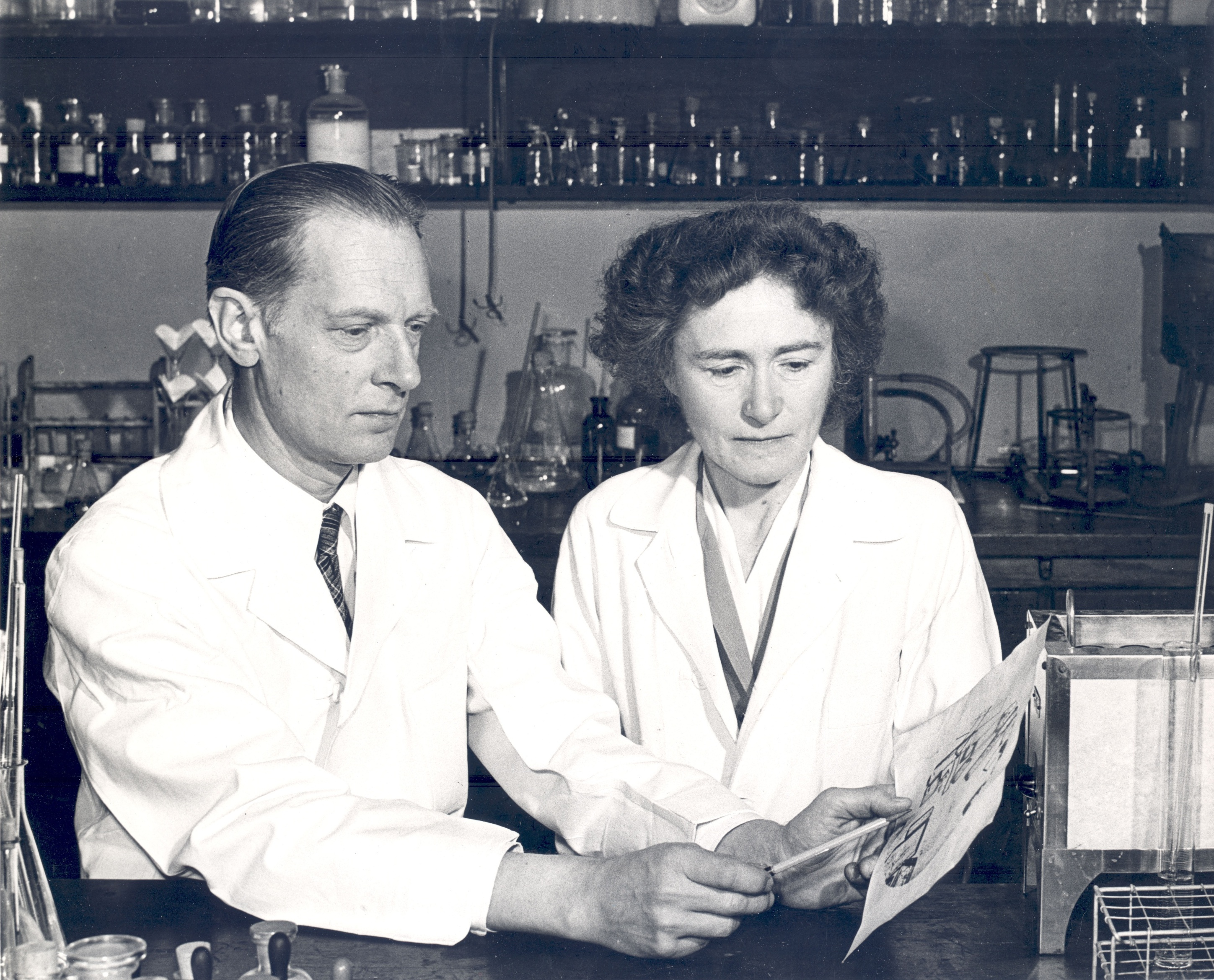 Carl F. and Gerty T. Cori in their lab at Washington University.