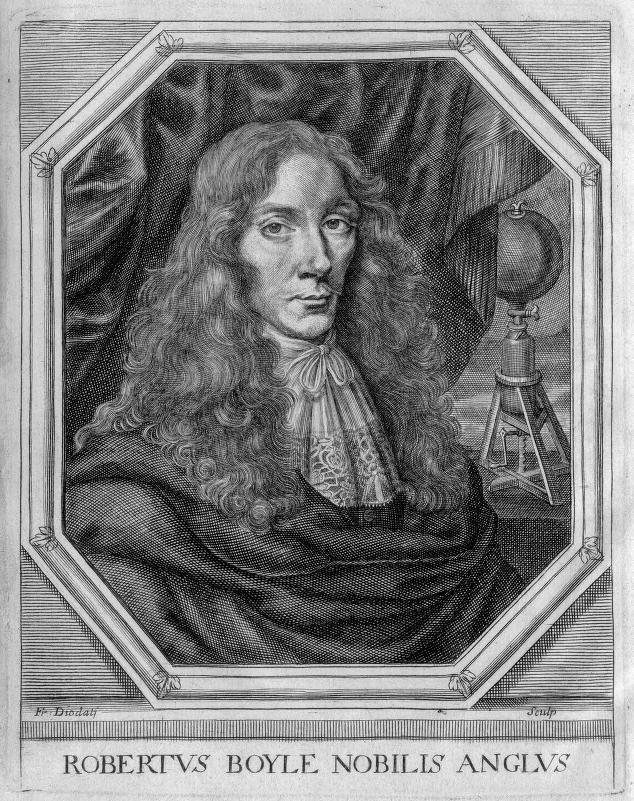 Boyle at the age of 37, with his air pump in the background. Courtesy Edgar Fahs Smith Collection, Kislak Center for Special Collections, Rare Books and Manuscripts, University of Pennsylvania.