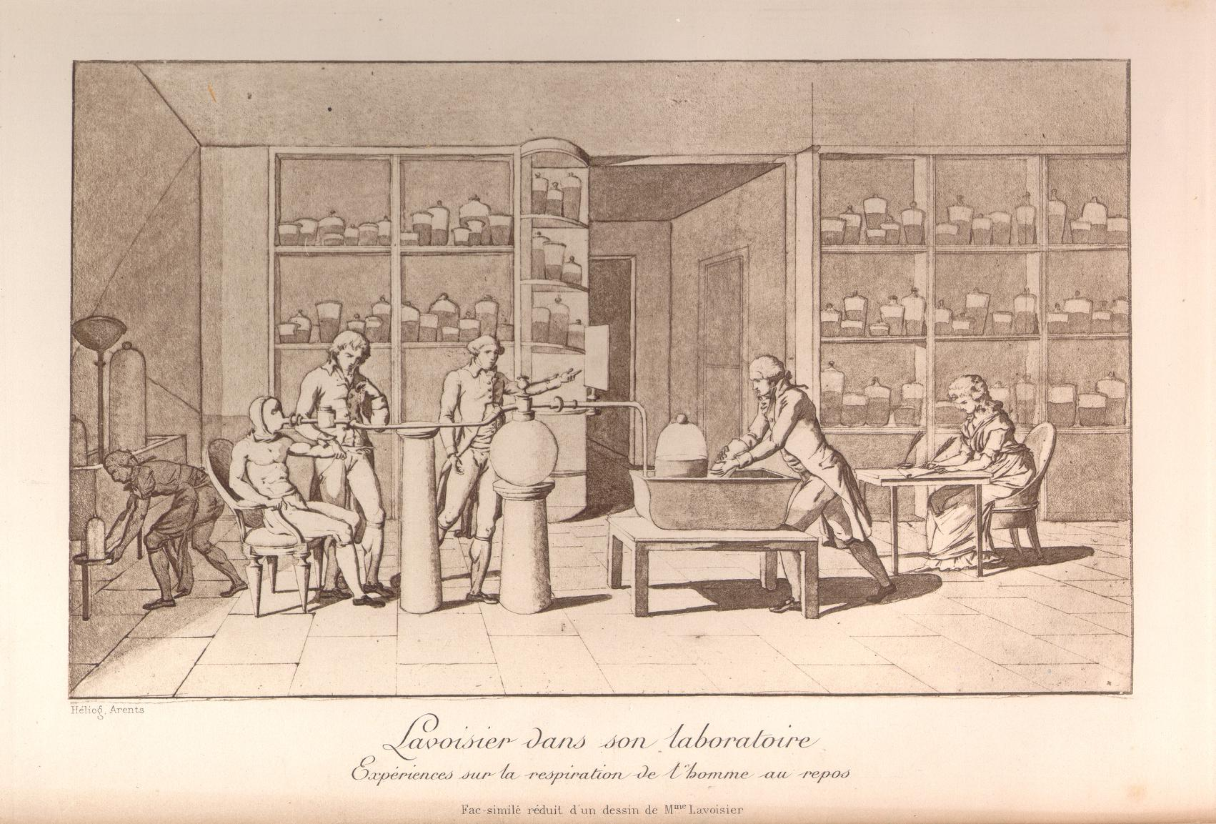 Antoine-Laurent Lavoisier conducts an experiment on human respiration in this drawing made by his wife, who depicted herself at the table on the far right.