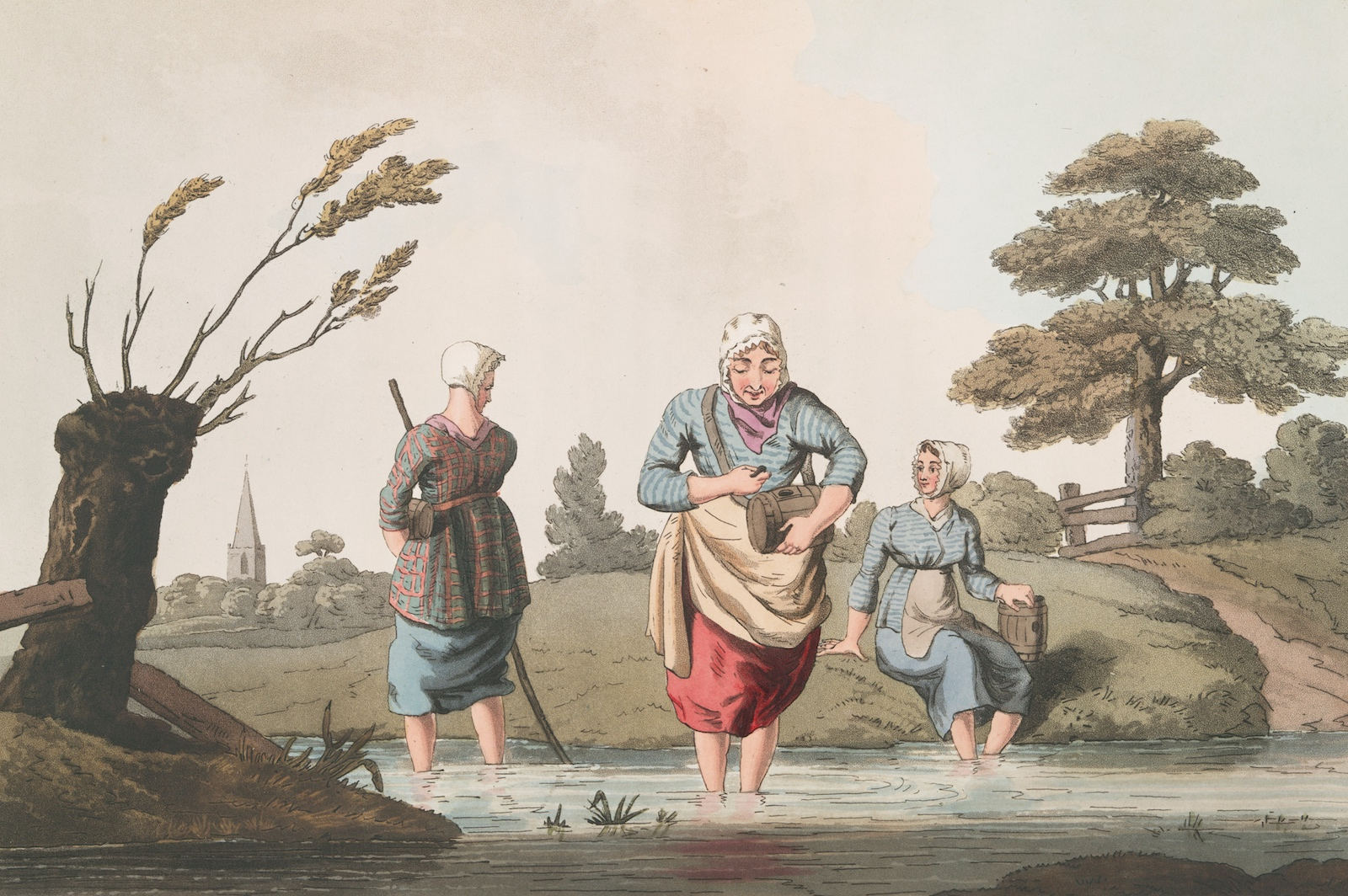 color lithograph of three women