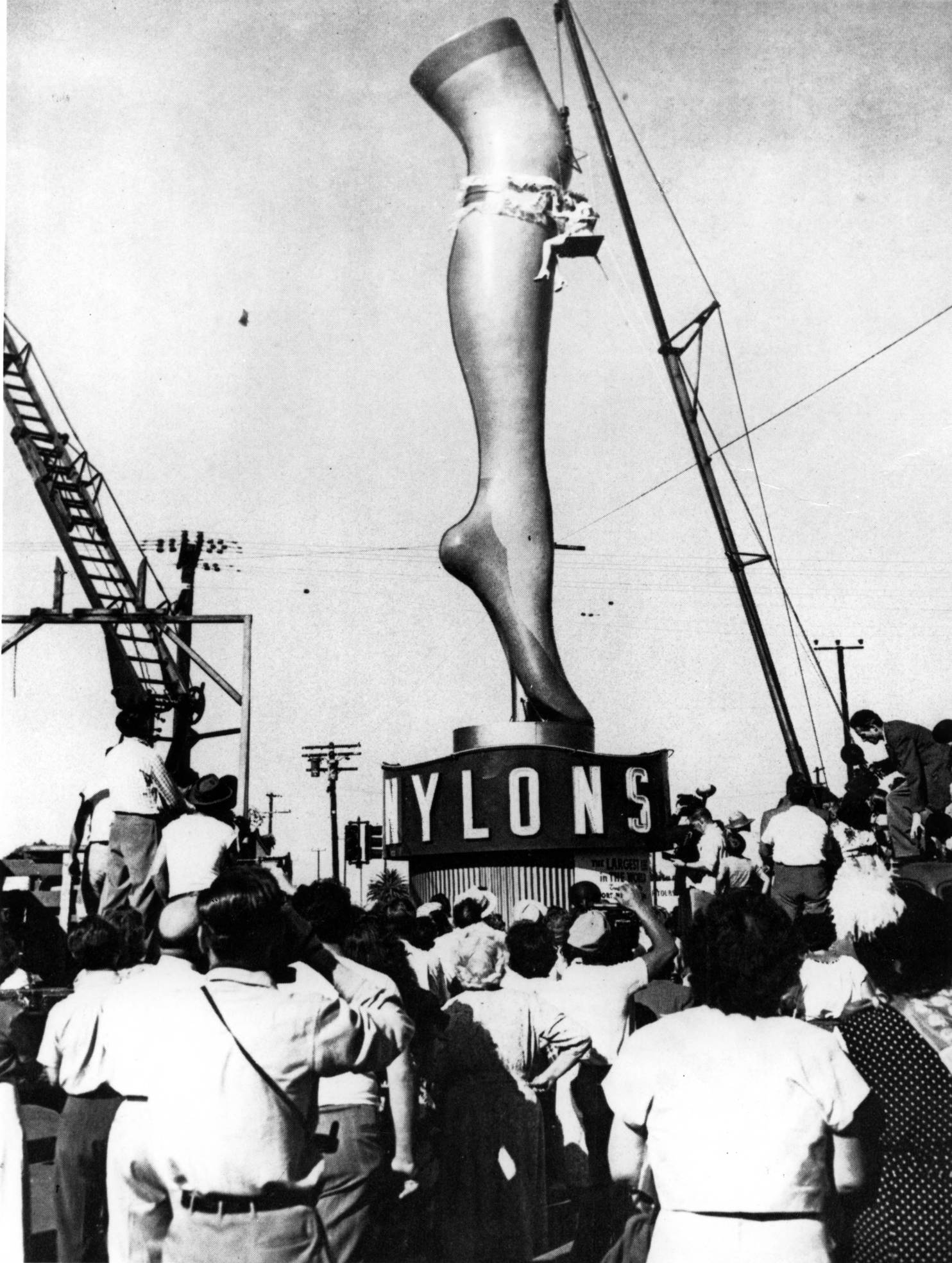 A giant leg, 35 feet high, advertised nylons to the Los Angeles area.