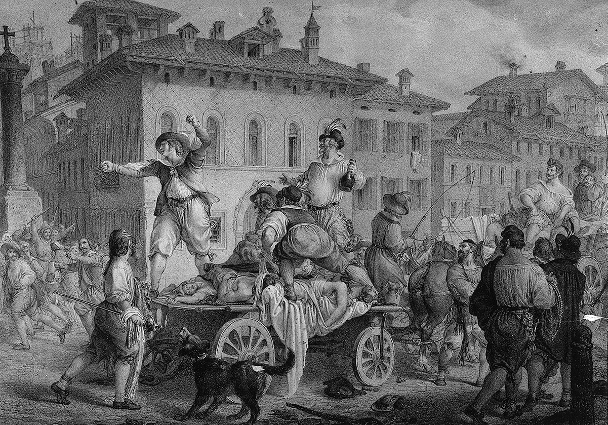 Plague cart and mob during 1630 plague in Milan