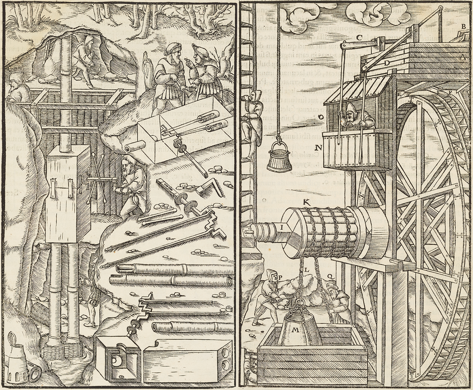 Black and white woodcut of mining scenes
