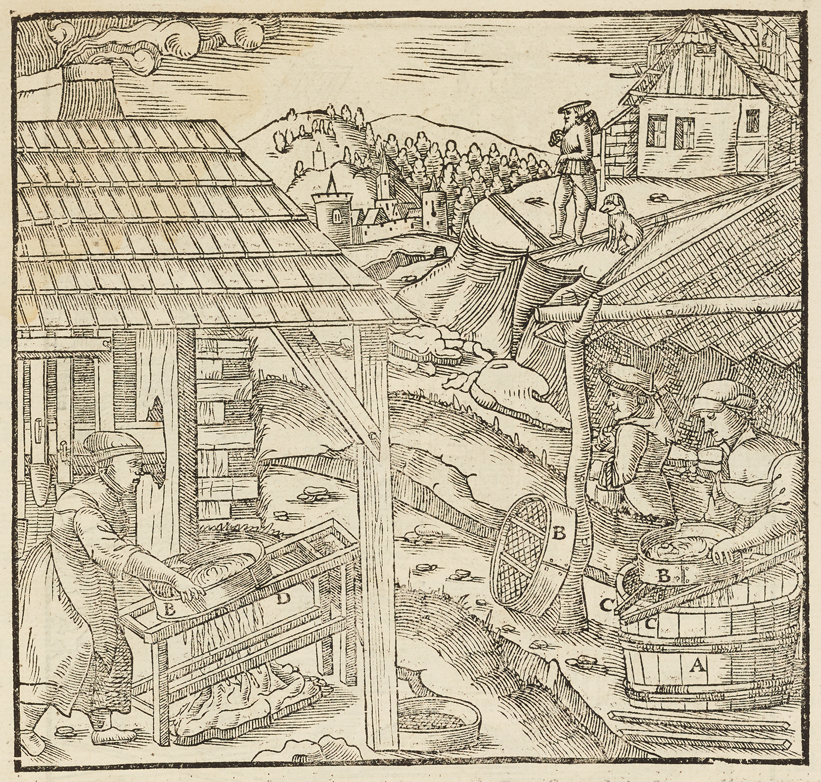Black and white woodcut of a mining scene