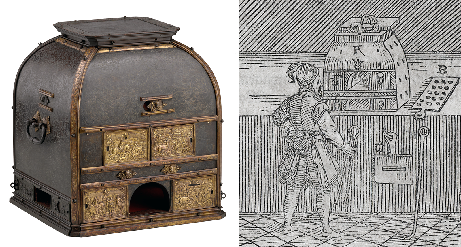 Ornate cabinet-like tabletop furnace and an engraving