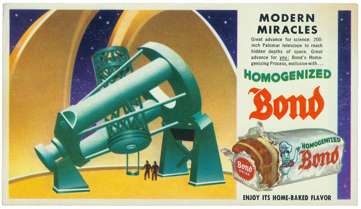 Illustrated bread advertisement showing an observatory