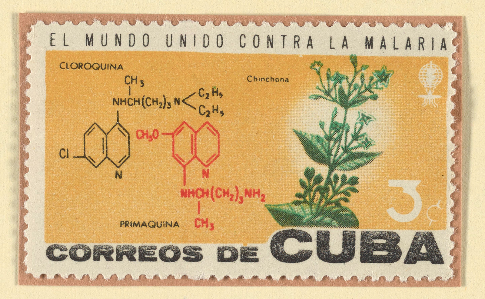Stamp with illustrations of chemical compounds and a plant