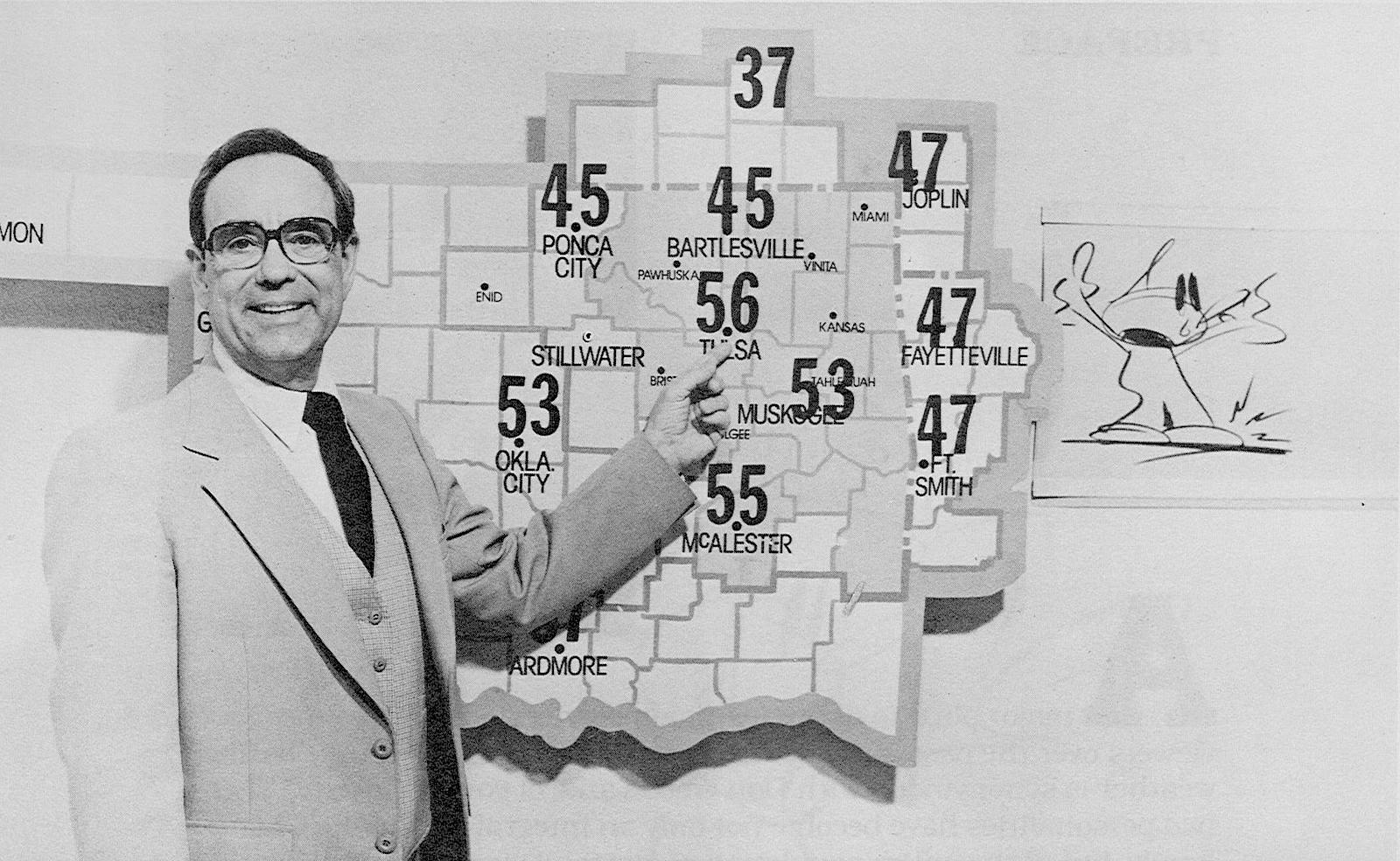 TV new forecaster with weather map