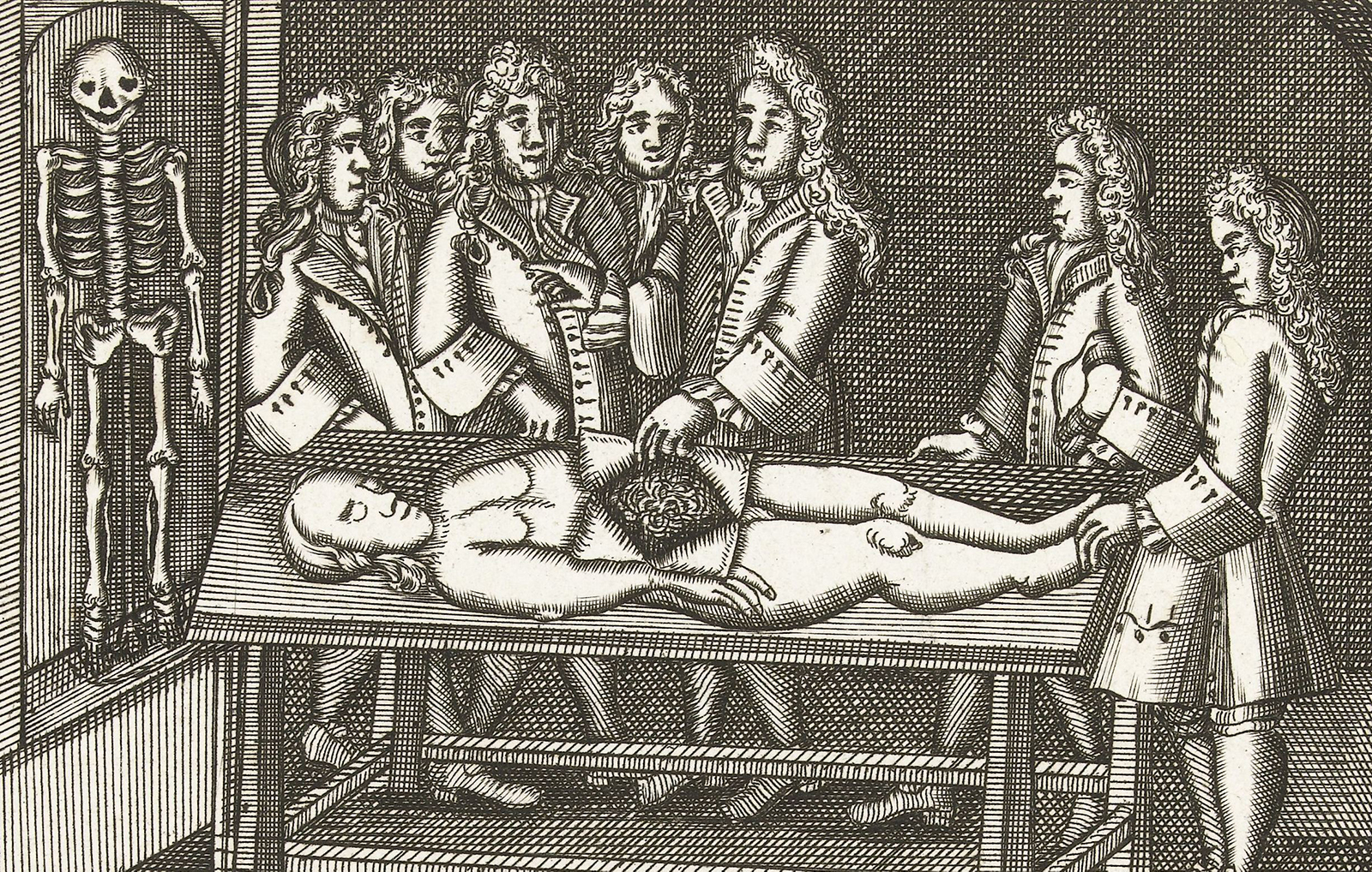 Men in 18th-century clothing watching a dissection