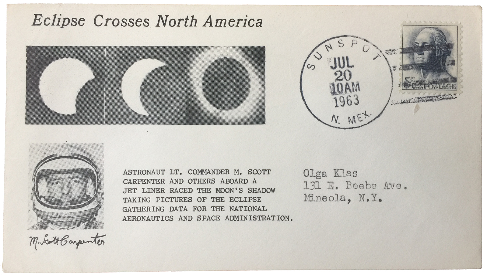 Commemorative postal cachet of eclipse