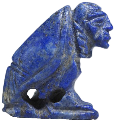 Profile of small, blue figurine of a vulture with a human head