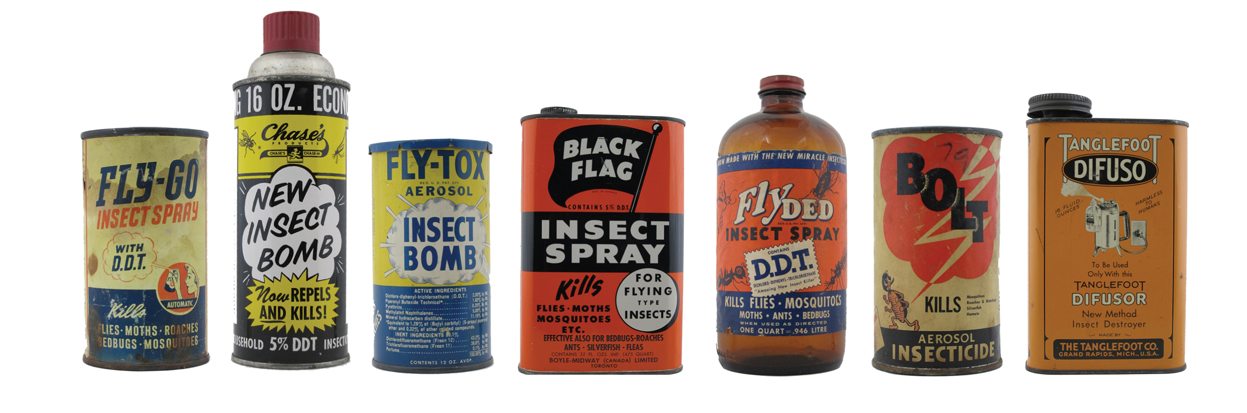 A sampling of DDT containers from the Institute's collection.