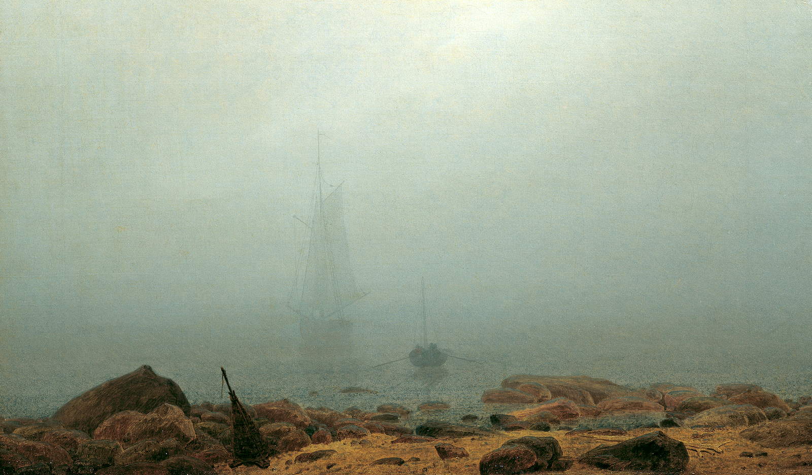 Oil painting of foggy seascape with faintly visible ship