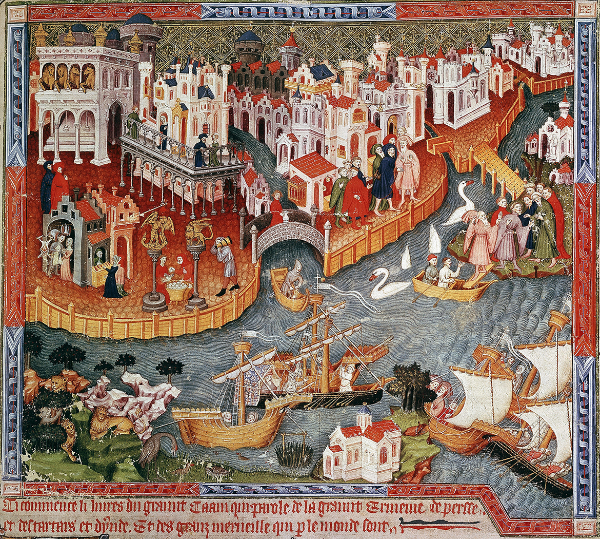 Painted engraving of Venice with buildings, canals, and ships