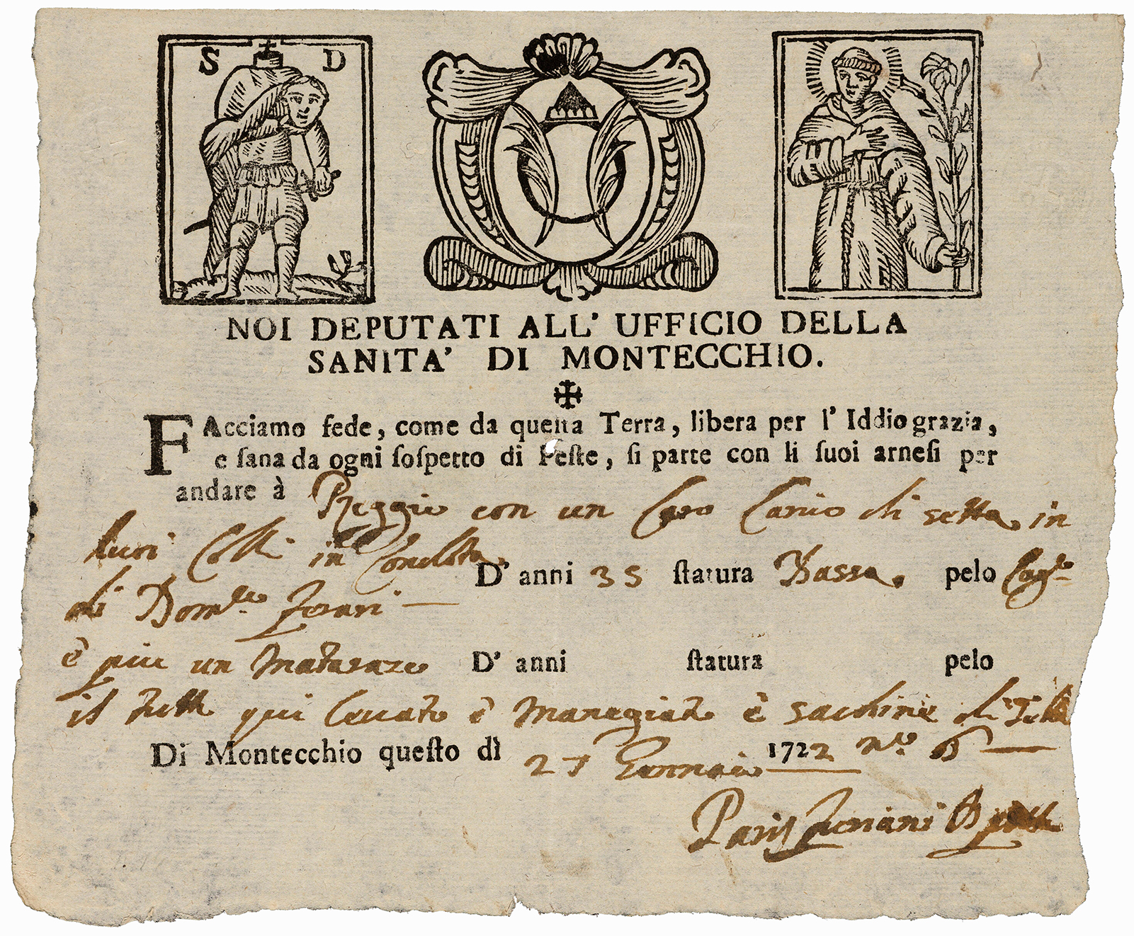 Old printed and handwritten certificate with small images
