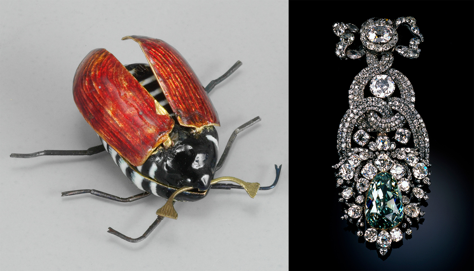 painted mechanical insect and ornate jewelry made of large diamonds