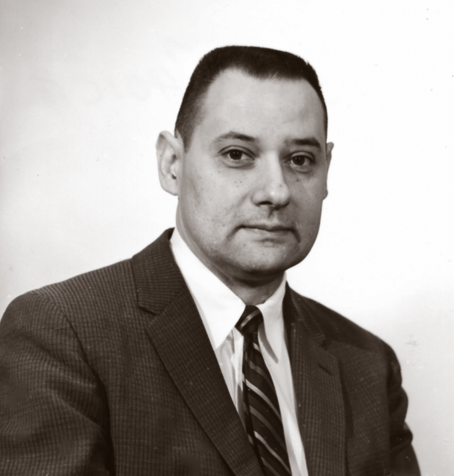 Black and white photo of a man