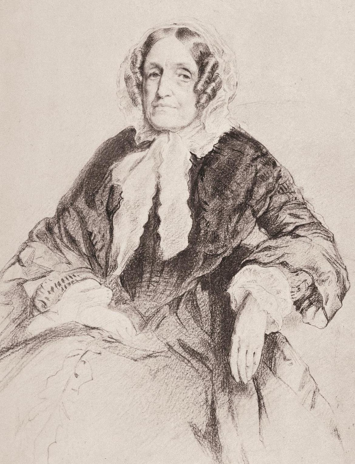 Pen and ink portrait of older woman