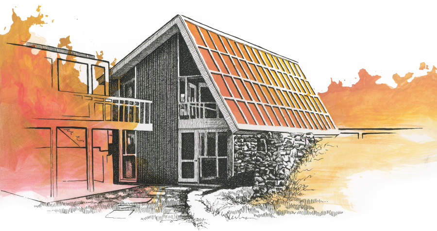 Illustration of a solar house
