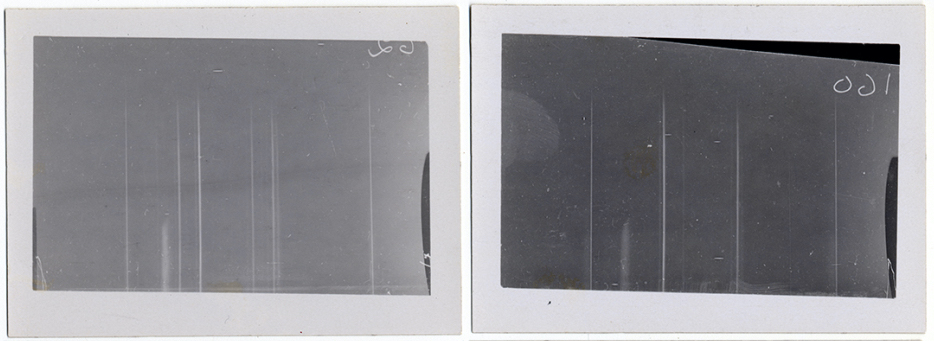 black and white prints of white lines on dark background