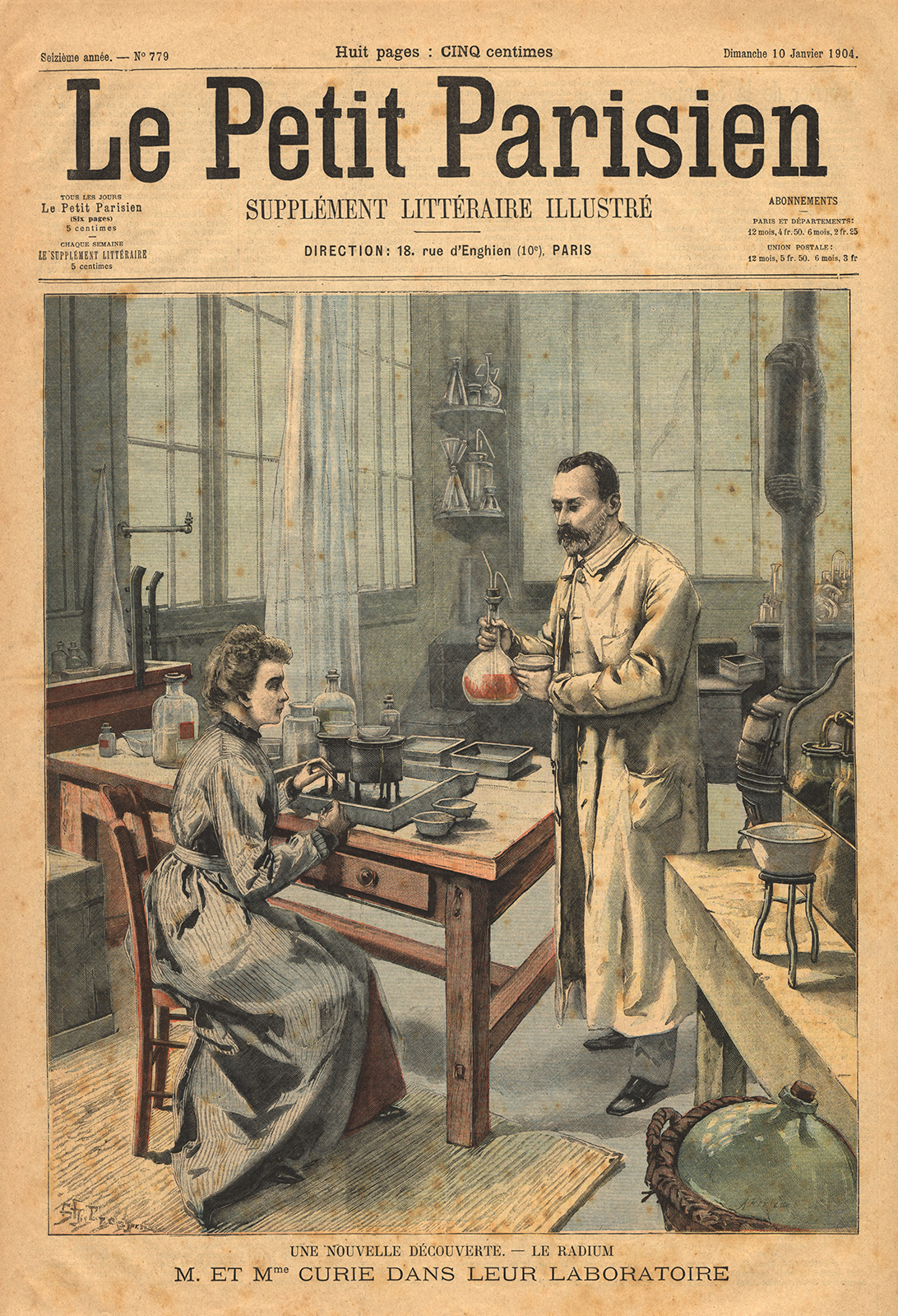 Color illustration of the Curies in their lab