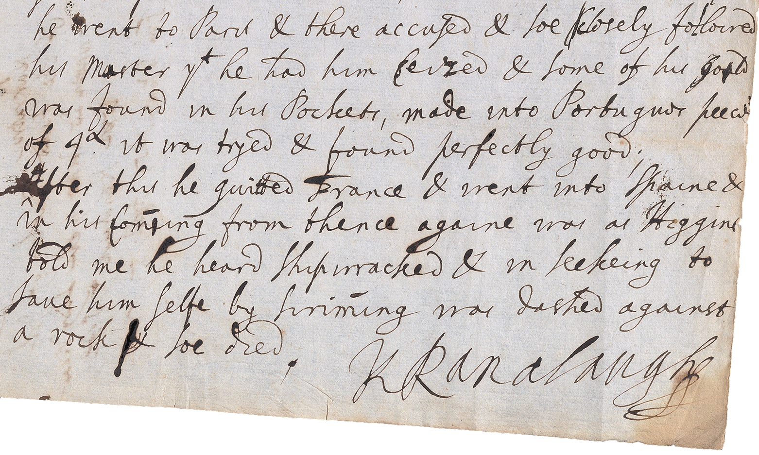 Text of old letter in cursive