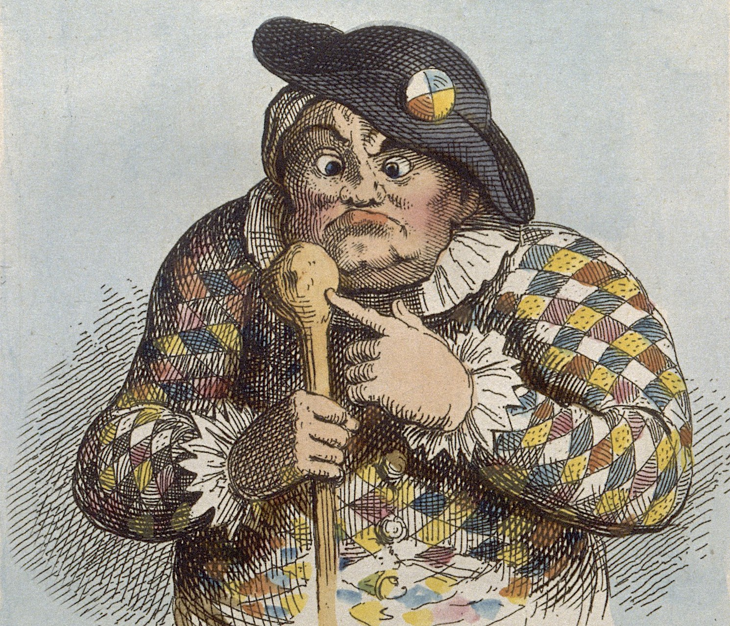 Color illustration of a woman in motley