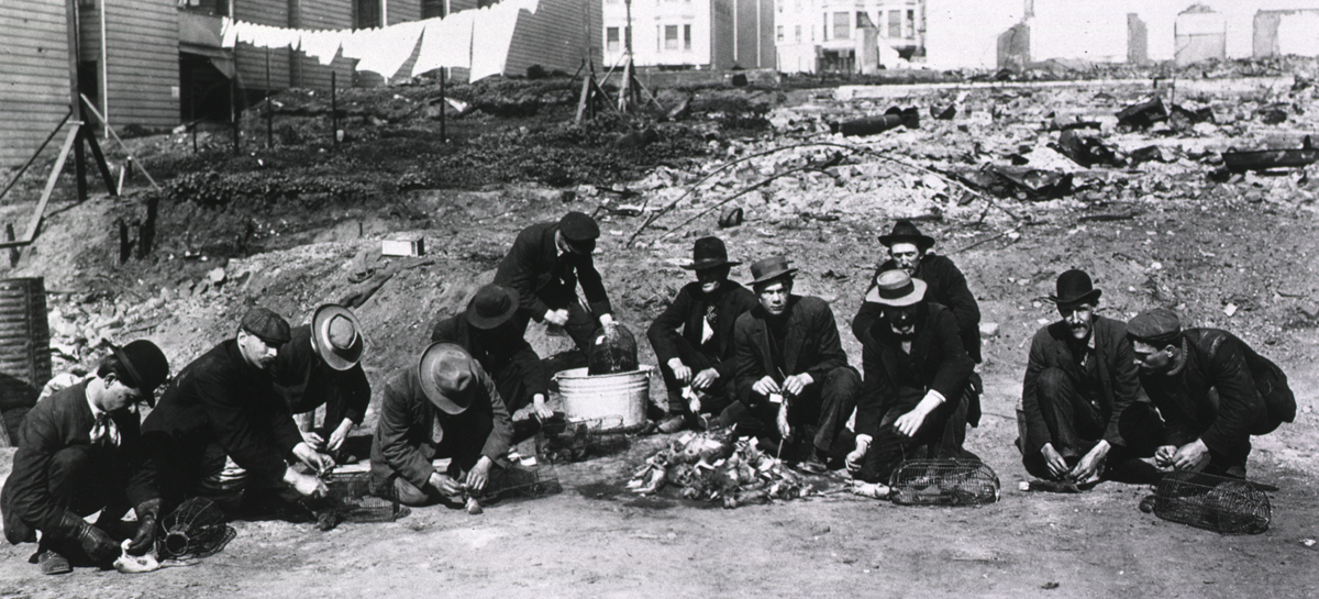 A group of workers crouched, tying tags on dead rats