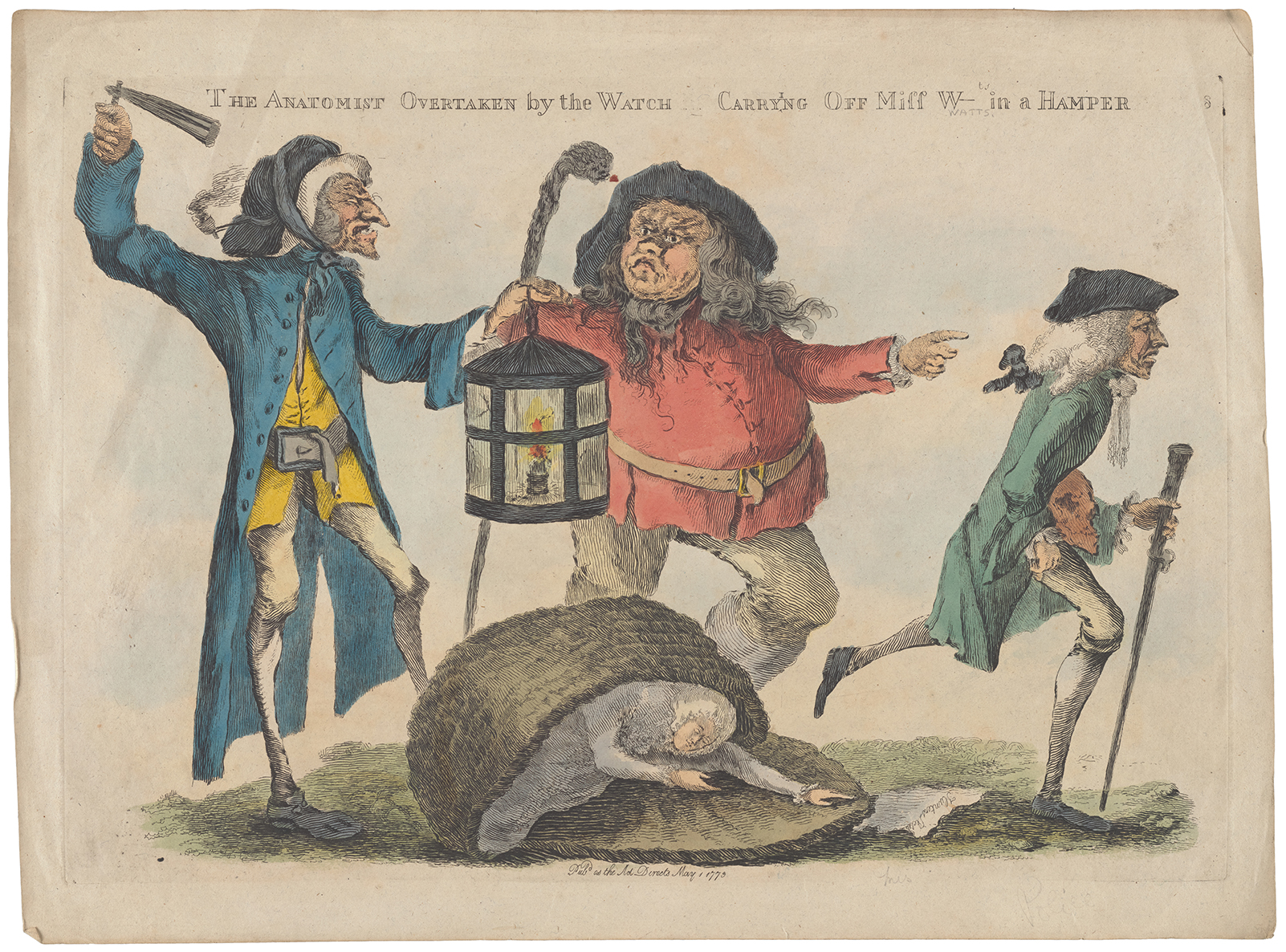 Cartoon of men chasing a grave robber