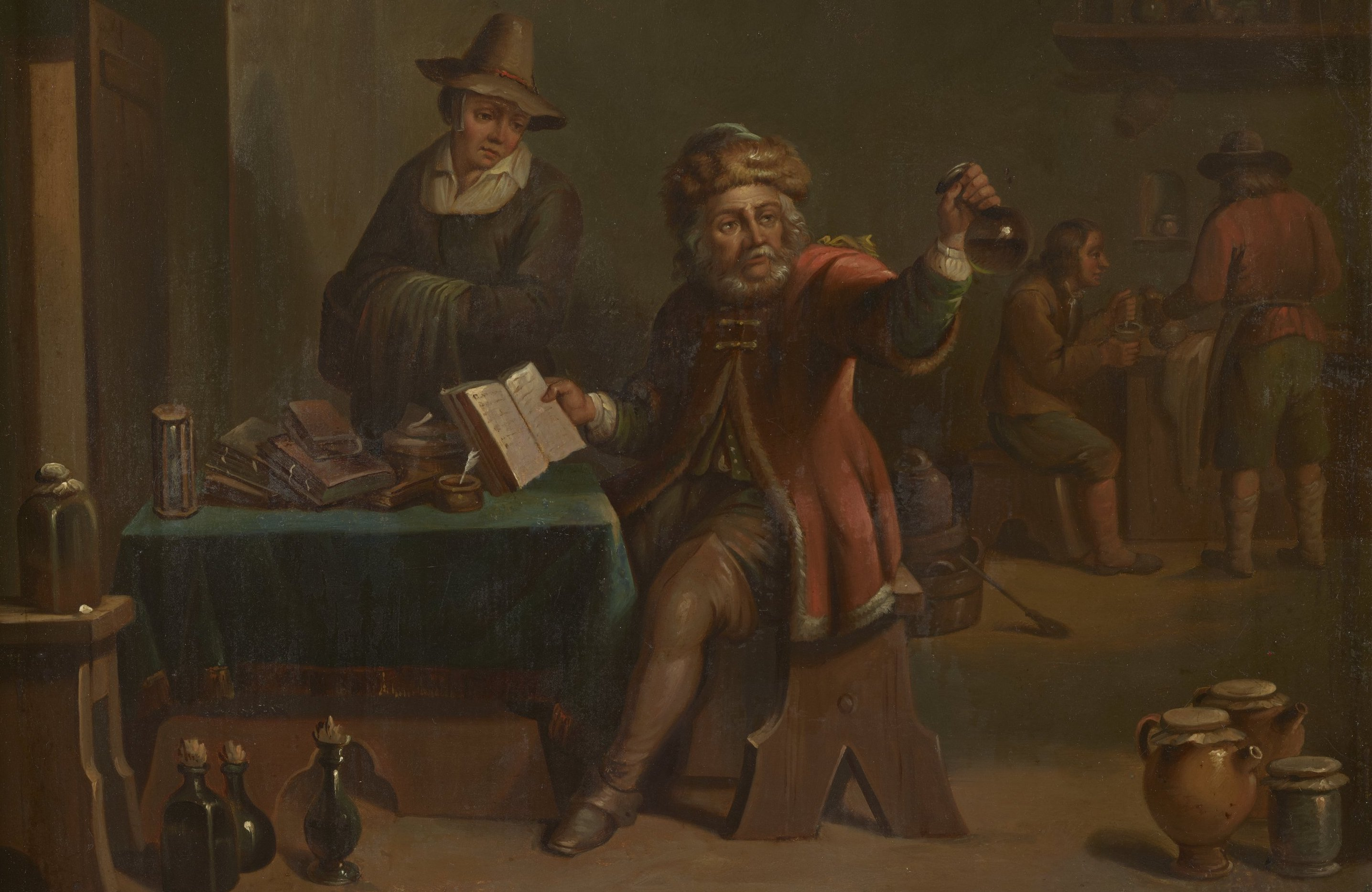 Oil painting of early modern doctor chemist