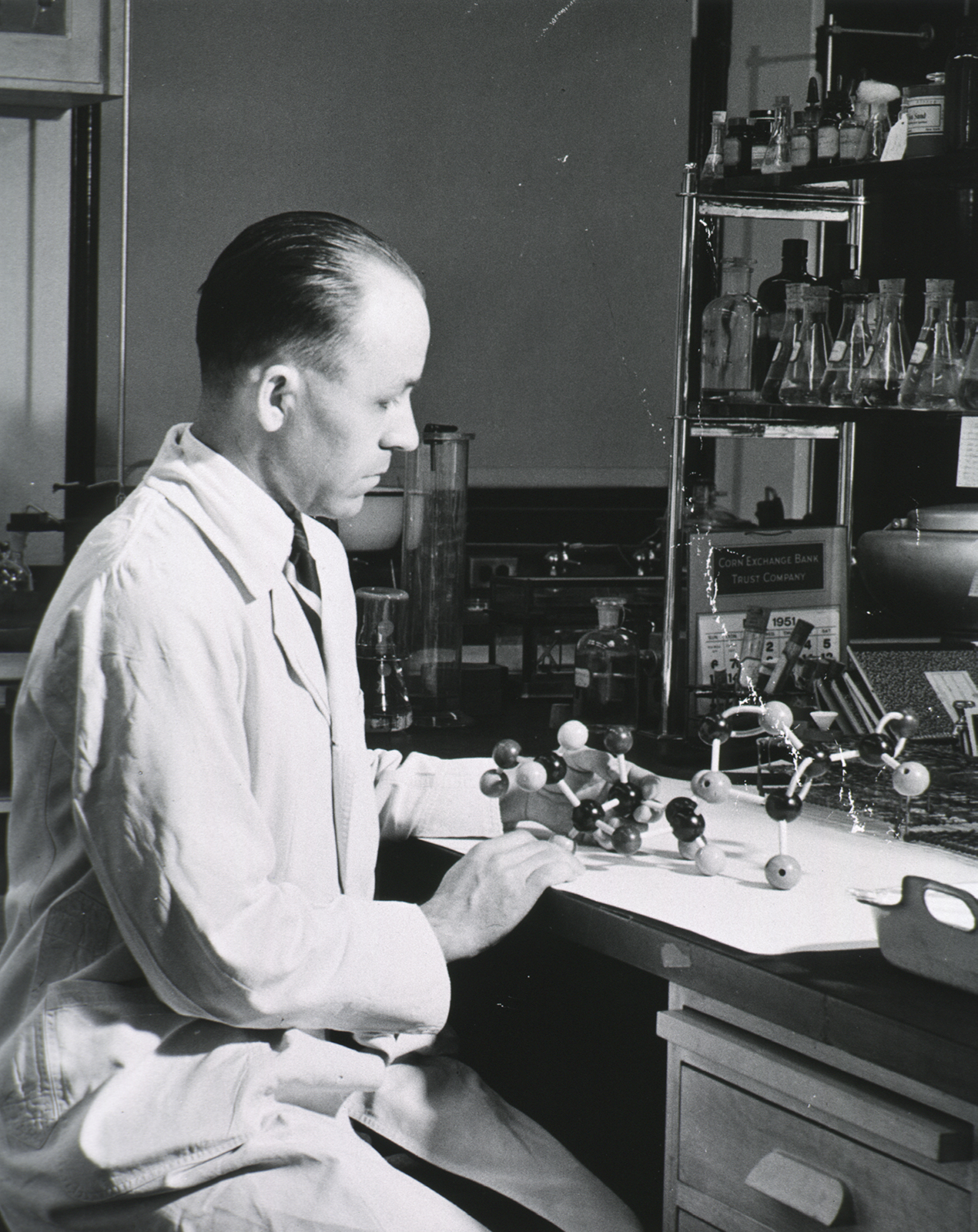 man working at chemistry lab bench